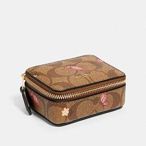 Coach Triple Pill Box Brown Signature Butterfly